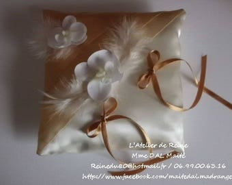 Ivory & gold wedding ring bearer pillow