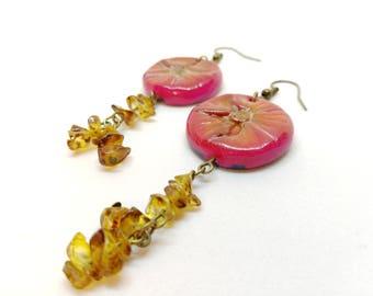 Earrings clay, earrings flower, earrings amber, hippie, floral earrings, fimo, handmade, polymer clay, red, flower