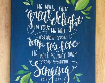 Zeph 3:17 Calligraphy Acrylic Painting