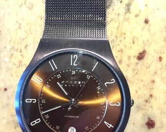 Skagen denmark mens Titanium / stainless black meshband bronze dial w/date model233xltmd quartz watch