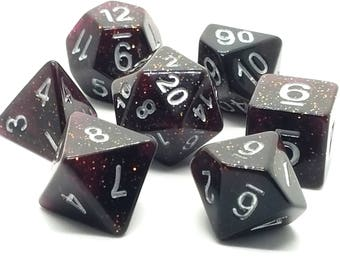 Dungeons and Dragons Dice Set -  Red Glitter -  pathfinder dnd gift idea rpg d&d dice d20 RPG Role Playing Games polyhedral by Dice Envy