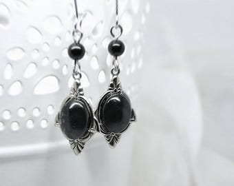 """Earrings """"Dark Elf"""" in Jasper prints in brass Silver Filled (Sterling/Sterling) and then aged & weathered with anti-tarnish treatment"""