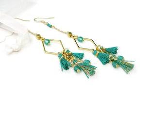 Long geometric earrings green Emerald boho-chic