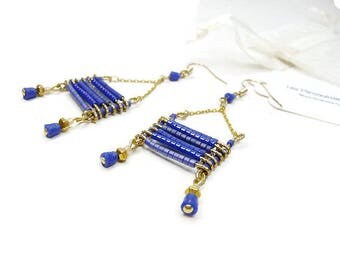 Graphic earrings blue Ultramarine gold-plated