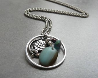 Necklace SEA LIFE color brass antique silver/pacific