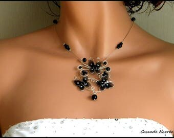 butterflies Tiphaine Silver Black Pearl wedding bridal necklace