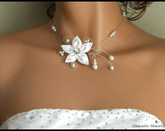 Bridal flower JULINE Crystal white swarovski Pearl bridal necklace