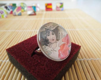 Ring cabochon round poppy girl
