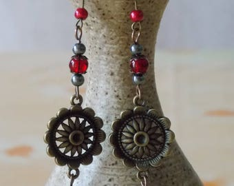 Earrings * forever * bronze flower sparkle red - Baroque - Renaissance glass and cracked glass