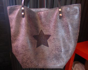 Tote extra large faux distressed gray leather