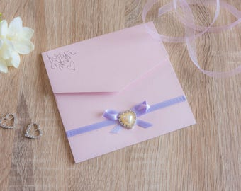 Handmade Pocketfold Wedding Invitation PearlHeartBow