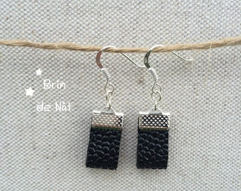 Black faux leather and silver hook earrings