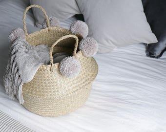 Fait à la main Pom Pom les herbiers du ventre panier - stockage / Decor plante Stand / cadeau