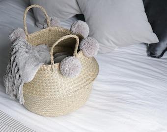 Handmade Pom Pom Seagrass Belly Basket - Storage / Decor / Plant Stand