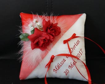 Red and white wedding ring cushion