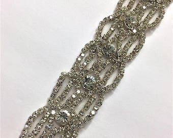 "1 1/2""  Crystal Beaded rhinestone trim Silver #QRGY6026"