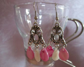earrings with pink and white drop Pearl sequins water