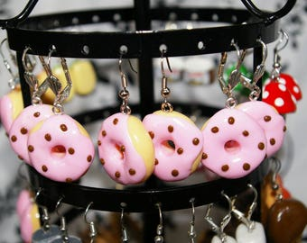 Pink icing donut earrings