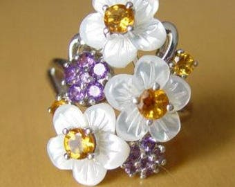 Vintage Gemstone Flower Ring