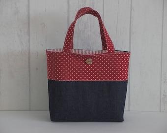 "Handbag ""Kids size"" denim and lace"