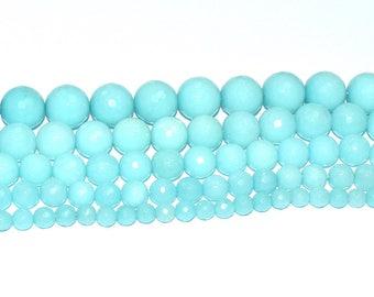 (JADE) semi-precious stone bead - round, faceted (12mm) - Iceland - PSPJARD1215TUL496 blue
