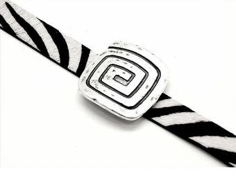 Large loop Metal Zamak - spiral - 50mm - 28.5 mm flat leather - antique silver