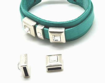 Loop of Metal - ZAMAK item - Square - for leather (hole 2.5x10mm) - silver plate and Swarovski Crystal