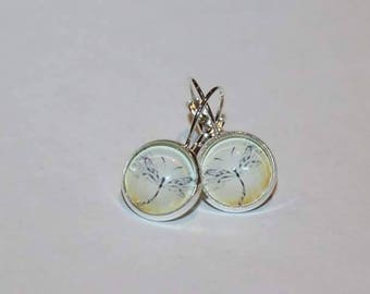 Amber Dragonfly Stirling Silver earrings