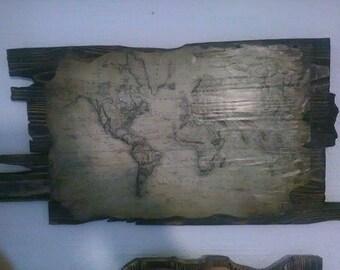 Handmade Vintage Map Board
