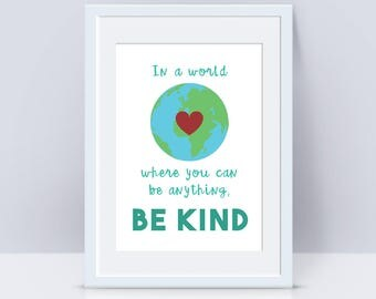Be Kind Art Print | Vegan art, art print, wall art, wall print, bedroom print, home decor