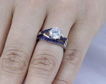 925 Sterling Silver Navy Blue CZ Stone Wedding Band Ring Set Women's Size 4-11 Ss764