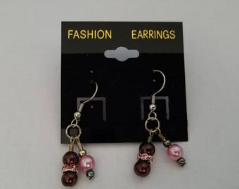 Pink and Brown Bead Dangle Hook Earring