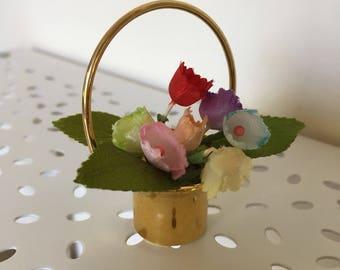 Brass toned flower basket miniature