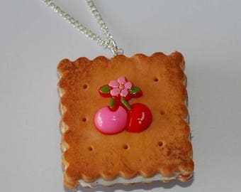 """""""Cherries"""" delicious whipped cream filled cookie necklace"""