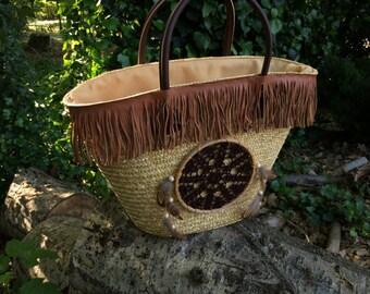 Dream catcher straw basket
