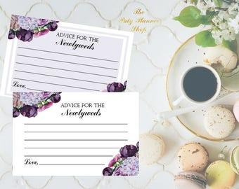 """Advice For The Newlyweds Card, 4""""x6"""" Advice Card, Bridal Shower Advice Card, Printable Advice Card"""