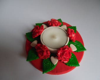 Candle holder wood Fimo flowers red roses and hearts