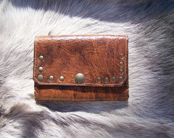 Antique Cognac brown leather wallet, vintage style, with embedded, card wallet handy