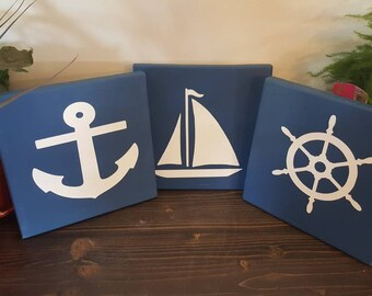 Set of 3 nautical signs