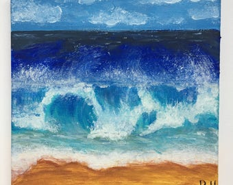 ROLLING WAVES // Original Acrylic Beach Painting On Canvas