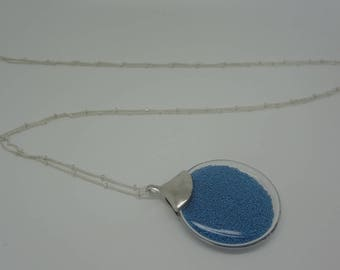 Blue/turquoise beads and glass pendant necklace