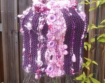 Snood wool purple woman handmade