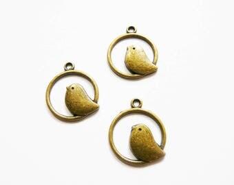 Charm birds bronze circles 3 x