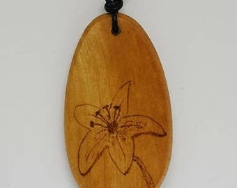 Lily wooden pendant, pyrography, woodburning, all natural, jewelry, necklace, wood, nature