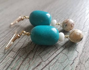 Handmade Turquoise and Gold Dangle Earring