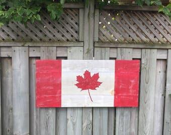 Rustic Canadian Barnboard Flag