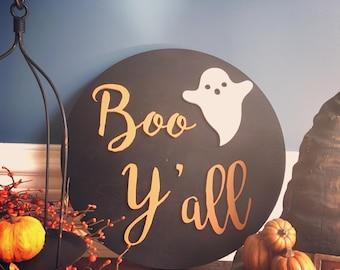 """Boo Y'all, 16"""" Halloween Wood Wall Sign"""