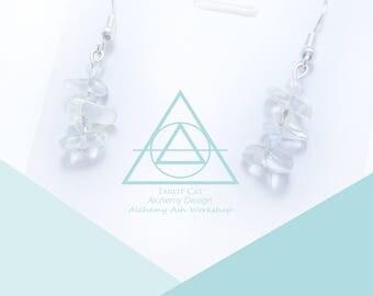 Moonstone Little Tree Earring, Gemstone, Raw stone Earrings