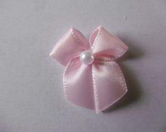 Pink satin bow with Pearl Center