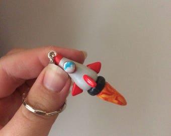 Kawaii polymer clay rocketship keychain keyring